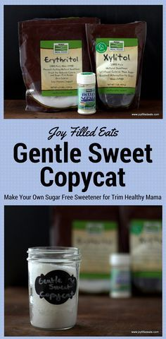 For those mamas on a budget you can mix up my sweetener that substitutes 1-1 for Gentle Sweet in all your favorite Trim Healthy Mama recipes.