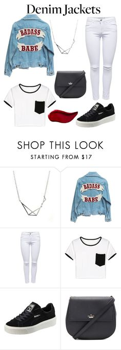 """""""bad ass"""" by just-lea on Polyvore featuring WithChic, Puma, Kate Spade, Kat Von D, denim, women and 2016"""