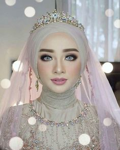 Bridal hijab wedding veils ready to wear 39 Best ideas Muslimah Wedding Dress, Muslim Wedding Dresses, Muslim Brides, Wedding Hijab Styles, Bridal Hijab, Hijab Dress, Turban Hijab, Wedding Veils, Wedding Cakes