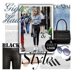 """""""Gigi Off-Duty Style"""" by anin-kutak ❤ liked on Polyvore featuring AG Adriano Goldschmied, Yves Saint Laurent, adidas Originals, Givenchy, Heidi London and offduty"""
