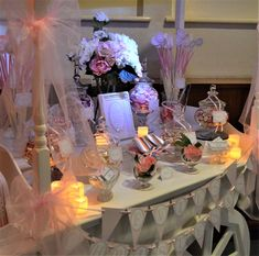 Our pretty christening sweetie cart for Evie