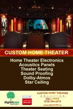 Contact us Custom Home Theater Solutions. At #Digiark360 Inc, we provide home theater #electronics, #acoustics #panels, #theater seating, sound proofing, Dolby-Atmos, and #star #ceiling. #Control4