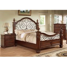 Furniture of America Barath Antique Dark Oak Wood and Metal Poster Bed | Overstock™ Shopping - Great Deals on Furniture of America Beds