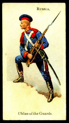 "Russian Uhlan of the Guards - Wills's Cigarettes ""Soldiers of the World"" (series of 100 issued in Mad Movies, Army History, Advertising History, Crimean War, Sketches Tutorial, West Art, Collector Cards, British Soldier, Army Uniform"