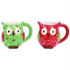 Holiday Owl Red and Green Set of 2 Christmas Coffee Mugs