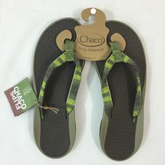Chaco Green & Grey Flip Size 10 The brand speaks for itself. The ergonomic design provides extreme comfort in just the right places. Green and grey. Brand new in bag with tags.  Size 10. NOTE: used same picture as size 9 Chaco Shoes
