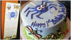 Spider and bugs first birthday party invitation by HH Design House!  Email info@hhdesignhouse.com for orders!