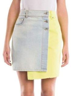 Msgm Two-tone Denim Mini Skirt In Blue Yellow Denim Mini Skirt, Mini Skirts, Short Skirts, Two Toned Jeans, Skirt Fashion, Fashion Outfits, Altered Couture, Recycled Denim, Plus Size Beauty