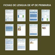 Fichas de lengua para Cuarto de Primaria Spanish, Language, Bullet Journal, Teaching, Education, Doodles, Angel, Third Grade Reading, First Grade Math
