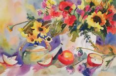 Apples and Teapot still life, painting by artist Kay Smith