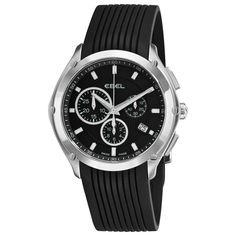 Men's Black Rubber Strap Chronograph Watch - Ebel Watch
