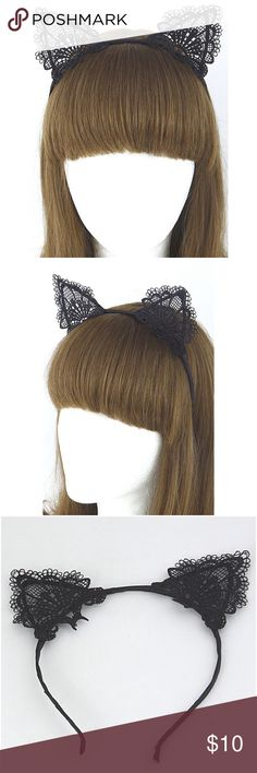 Halloween lace kitty inspired ears head band! Halloween lace kitty inspired ears head band!    Firm price Accessories Hair Accessories