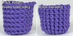 sc comparison: front loops, both loops, back loops