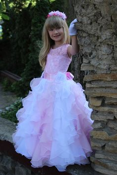 Chiffon Flower Girl Dress Birthday Wedding by KingdomBoutiqueUA