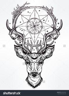 stock-vector-deer-head-and-dream-catcher-362861840.jpg (1154×1600)