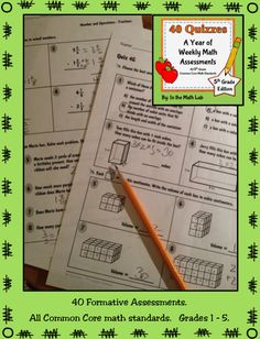 Math formative assessment packs for Grades 1 - 5. All Common Core math standards. Answer keys included.