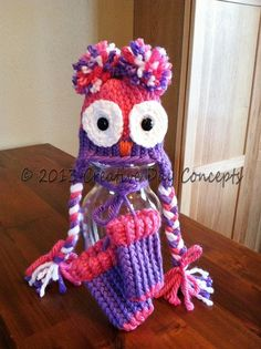 Children's crocheted Owl ear flap yarn hat by creativedayconcepts