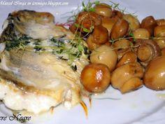 Rețetă Felul principal : Salau de dunare in sos de vin cu ciuperci de MazdaRX8 Romanian Food, Fish And Seafood, Chicken, Meat, Recipes, Wine, Beef, Rezepte, Ripped Recipes