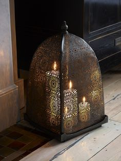 Iron Windlight with Moorish Frette Work Detailing