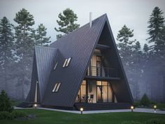 Architecture House Forest Beautiful Cabin House Design Shaped like a Cone - Tiny House Cabin, Cabin Homes, Small House Kits, Cabins In The Woods, House In The Woods, Triangle House, A Frame House Plans, Rustic Home Design, Forest House