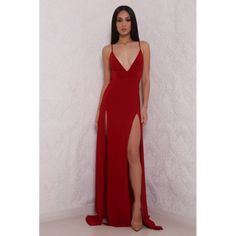 Elle from Abyss by Abby Stretch jersey gown with two high slits and a beautiful open back.