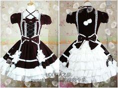 Gothic Lolita Dress, red and white velvet, lacing, pompom and bears > JAPAN ATTITUDE - VETROB089