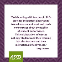 Craig Simmons suggests trying this procedure when analyzing student work with your PLC in this Inservice post.