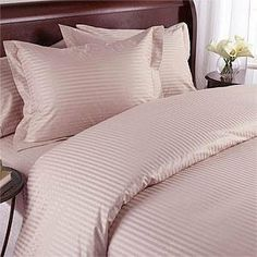 """600 Thread Count Queen Siberian Goose Down Alternative Comforter [600FP, 50oz] with 100% Egyptian Cotton Stripe Damask Cover - Blush Set Includes Bed Duvet Cover Sheet with TWO Shams (Pillowcases) made of 600 Thread Count 100% Long Staple Egyptian Giza Cotton with Swiss Sateen Finishing by Simply Linens. $224.99. DOWN ALTERNATIVE Comforter, 600fp, 50oz, Allergy free.Box-stitching design and Side-Gusset for the Maximum warmth.. Queen Duvet cover measures 90"""" W x..."""