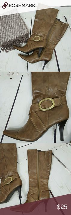 Chic Knee High Boots, 8 Chinese Laundry stylish brownish/tan boots with side gold buckle are a perfect addition to your Fall wardrobe!  Size 8.  Soles and heels are in great shape!  Zip closure on inner side.  Sturdy heels keep you looking stylish, yet also comfortable.  Man made material throughout.  3 inch heel.  Excellent pre-owned condition. Chinese Laundry Shoes Ankle Boots & Booties
