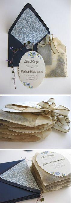 tea party invitations made of tea bags