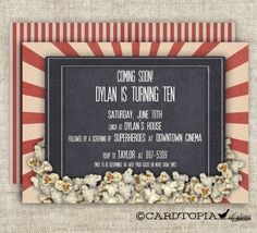 Movie Theater BIRTHDAY PARTY Invitations Girl by CardtopiaCompany, $14.00 - PERFECT idea for my child's 9th or maybe 10th birthday party!!