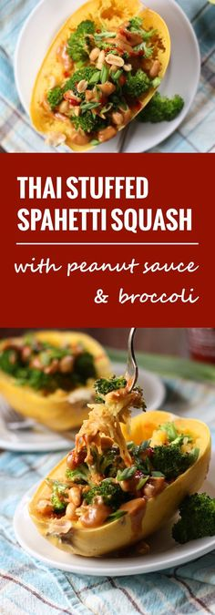 These Thai-inspired stuffed spaghetti squash are piled high with garlicky roasted broccoli, creamy peanut sauce and crunchy peanuts.