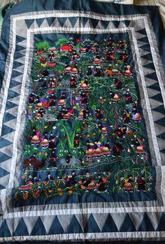 Hmong Story cloth, village scene