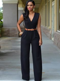 df4d8f2c975c V Neck Sleeveless Wide-leg Jumpsuit With Belt