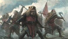 m Barbarian War Party eastern border plains hills mixed forest by Stefan Kopinski med Fantasy Rpg, Medieval Fantasy, Dark Fantasy, Vikings, Viking Berserker, Viking Warrior, Norse Mythology, Fantasy Inspiration, Barbarian