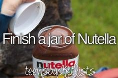 Go grab a jar of nutella, some spoons, and friends and eat the entire jar. @bandsfandom1233 is it bad that I literally want to have a day dedicated to just eating unhealthy foods. I am going to do that. mmmmm unhealthy food.