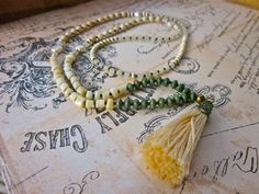 Long Antiqued White and Mossy Green Tassel Necklace, Gift for Her, Earthy Boho Tassel Necklace by SimplyMim on Etsy