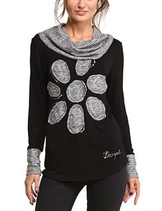 Desigual Women's Myriam Regular Fit Long Sleeve Top, Black, Size 10 (Manufacturer Size:Small)