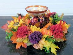 Fall Candle Ring, Fall Candle Centerpiece, Fall Candle Ring with Mums, Autumn Candle Ring, Sunflower Centerpiece