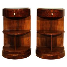Pair of Art Deco Semi-Circular Nightstands | From a unique collection of antique and modern night stands at https://www.1stdibs.com/furniture/tables/night-stands/