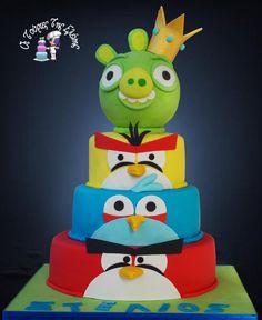 Angry Birds cake. My cakes are chocolate sponge cake  then drizzled with syrup and topped with pastry cream. The pastry cream can be of your favourite choice such as: Black Forrest, Ferrero Rocher, Oreo, Cookie, Vanilla Strawberry, Chocolate Strawberry,  Almond, Caprice, the choices are endless and yours. The most important factor is that the end result is tasty, moist and juicy.