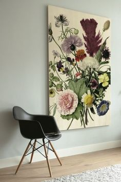 KEK Amsterdam Houten Print Muurdecoratie Wild Flowers - XL 120x180 cm Paint Colors For Living Room, Living Room Decor, Frame Layout, Cafe Interior, House Rooms, Decoration, Home And Living, Wild Flowers, Home Accessories