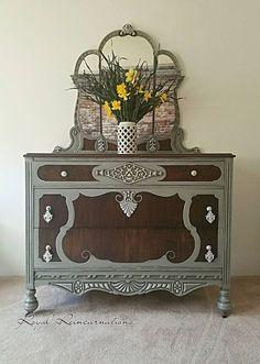 SOLD1930u0027s Antique Hollywood Regency Style Grey Grey Dresser, Wood Dresser,  Repurposed Furniture, Painted