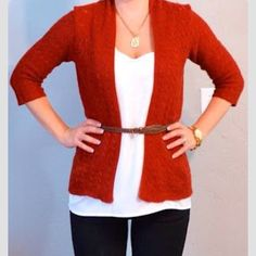 Adrienne Vittadini Rust Orange Cardigan Three quarter sleeves. V neck. Long length hits low on hip. Button up. Tag says large but fits medium. Adrienne Vittadini Tops
