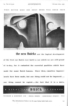 Buick Autocar Car Advert 1936 - when better cars are built, Buick will build them