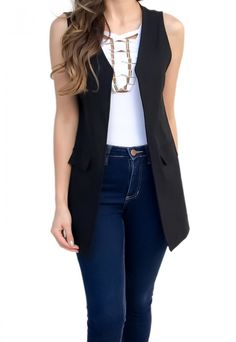 Casual Outfits, Fashion Outfits, Womens Fashion, Wedding Saree Blouse Designs, Sleeveless Blazer, Lookbook, Casual Chic, Casual Looks, Street Style