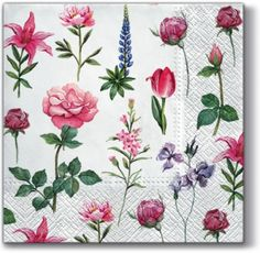 Now live! Boons of Garden #decorativenapkin with #roses, #tulips, #wildflowers for #decoupage