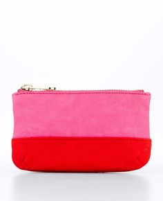 Pink and red colorblocked pouch