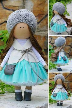Textile doll handmade Tilda doll Rag doll Baby doll grey aqua colors soft doll Cloth doll Fabric doll Love doll by Master Margarita Hilko