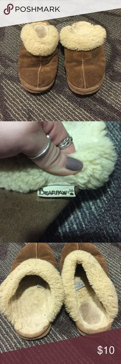 Authentic bearpaw slippers Brown bearpaw slip- on clog slippers. Are pretty worn/ dirty, but no holes. Still perfect for around the house or to be comfy running around doing errands! Price is reflectant of the wear on the shoes. BearPaw Shoes Slippers